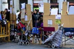Kartenverkäufer der spanischen Weihnachtslotterie in Solenoid stockfotografie