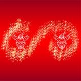 Kartenweihnachtsmann-Sternschneeflocken Vektor Abbildung