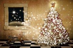 Kartenweinleseart der frohen Weihnachten Stockfotos