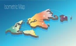 Kartenweltisometrisches Konzept flache Illustration 3d Lizenzfreie Stockfotos