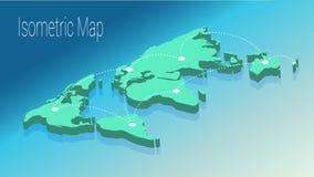 Kartenweltisometrisches Konzept flache Illustration 3d Lizenzfreies Stockfoto