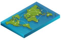 Kartenweltisometrisches Konzept flache Illustration 3d der Kartenwelt Vektorweltkarte-Verbindung politische Weltkarte Stockfotos