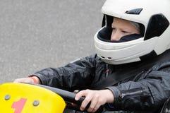 karting的孩子 免版税库存图片