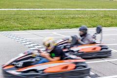 karting的种族的优胜者 免版税库存照片