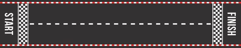 Karting bieżna droga Początek i mety Asfaltowa droga lub żużel z ocechowaniem w odgórnym widoku ilustracja wektor