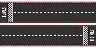 Karting bieżne drogi Początek i mety Asfaltowe drogi lub żużel z ocechowaniem w odgórnym widoku ilustracji