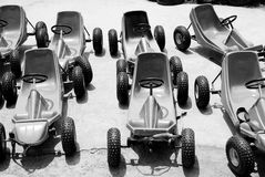 Karting car in black and white. The karting without engine for playing on grassland Stock Photo