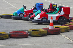 Carting cars. Karting cars surrounded by tires Royalty Free Stock Photography