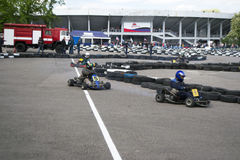 The karting championship. In Donetsk Stock Image
