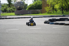 The karting championship. In Donetsk Royalty Free Stock Photography