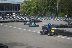 The karting championship. In Donetsk Royalty Free Stock Image