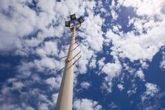 Karting circuit spotlight pole Stock Image