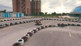 Karting, circuito de carreras almacen de metraje de vídeo