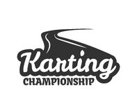 Karting club or kart races championship track vector template icon. Karting club or kart races competition vector logo template. Isolated icon or badge of motor Stock Images