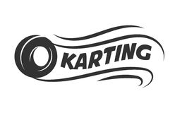 Karting club or kart races motor tire vector template icon. Karting club or kart races vector logo template. Isolated icon or badge of car wheel tire in speed Stock Photography