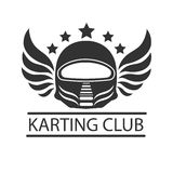 Karting club or kart races racer helmet vector template icon. Karting club or kart races vector logo template. Isolated icon of racer driver safety helmet with Stock Images