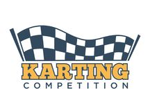 Karting club or kart races sport competition vector template icon. Karting races or kart club competition logo template for car racing tournament. Vector Royalty Free Stock Images
