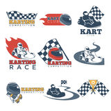 Karting club or kart races sport competition vector template icons set Royalty Free Stock Photography