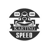 Karting Club Speed Racing Black And White Logo Design Template With Rider In Kart Silhouette Royalty Free Stock Photos