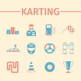 Karting flat icon set. Speed racing conceptual banner. Vector Stock Images