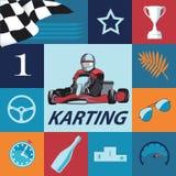 Karting Infographic που τίθεται στα μπλε χρώματα Στοκ Φωτογραφία