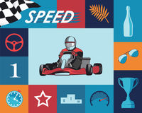 Karting infographic σύνολο Στοκ εικόνες με δικαίωμα ελεύθερης χρήσης