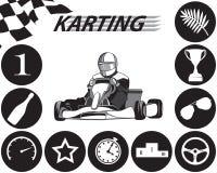 Karting Infographic en noir et blanc Image stock