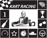 Karting Infographic en noir et blanc Photographie stock
