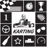 Karting Infographic en noir et blanc Images libres de droits