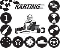 Karting Infographic i svartvitt Royaltyfri Illustrationer