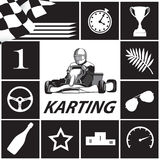 Karting Infographic i svartvitt Stock Illustrationer