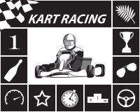 Karting Infographic w czarny i biały Fotografia Stock