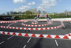 Karting journalist championship Stock Photo