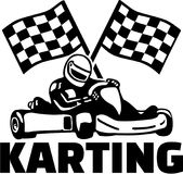 Karting with kart driver and goal flags. Vector Stock Photography