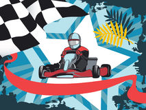 Karting konkurrens, mästerskap, vinnare Stock Illustrationer