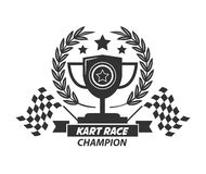 Karting logo champion cup, laurel wreath, stars and flags. Karting logo with champion cup, laurel wreath, four stars and two checkered flags isolated on white Royalty Free Stock Photos