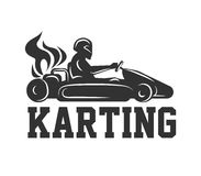 Karting logo racing sport car with driver in helmet isolated on white. Machine silhouette with fiery flame from rear wheels. Vector illustration of race on Stock Photos