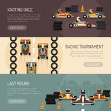 Karting Motor Race Banners. Three horizontal motor race banners presenting karting tournament flat isolated vector illustration Royalty Free Stock Photography