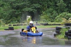 Karting nella pioggia 5 fotografie stock libere da diritti
