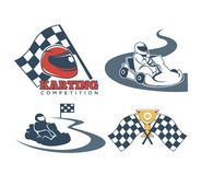 Karting promo emblems with driver in helmet and checkered flag. Karting promo emblems set with driver in helmet and checkered flag. Extreme sport for racers Royalty Free Stock Photos