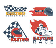 Karting race club and competition promotional emblems set. Karting race club and competition emblems set. Checkered flag, red flame and racer in helmet on kart Royalty Free Stock Images