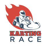 Karting race logotype with driver in helmet and flame. Karting race logotype with driver in helmet and big red flame behind isolated cartoon flat vector Royalty Free Stock Photo