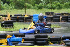Karting in the rain 1. Number 8, turning left Stock Image