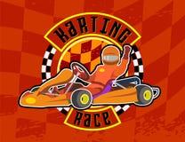 Karting-Rennen-orangr Hintergrund Lizenzfreie Stockfotografie