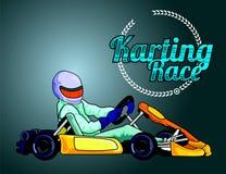 Karting-Rennfahrer auf blauem Hintergrund Stockfotografie
