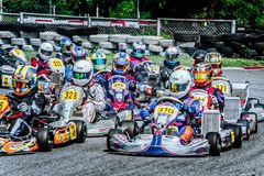Karting rolling start royalty free stock photo