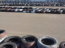 Karting track and tire fences Royalty Free Stock Photography