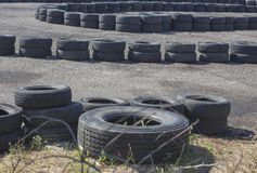 Karting tyres fence Stock Image