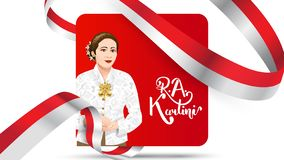 Kartini Day, R A Kartini the heroes of women and human right in Indonesia. banner template design background - Vector. Modern style royalty free illustration
