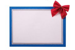 Kartka bożonarodzeniowa łęku czerwonej dekoraci błękita odosobniona rama obrazy stock